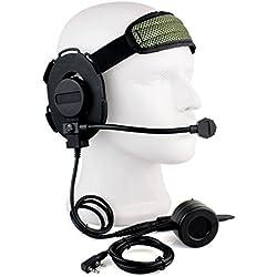 Auriculares tácticos Buwico HD01Z Bowman Elite II de 2pines con botón PPH estilo U94 para radios de dos vías Kenwood, Baofeng, Woxun, Puxing