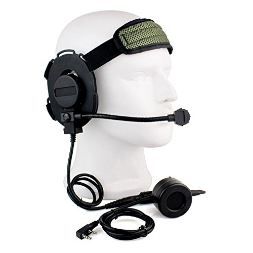 Buwico HD01 Z TACTICAL Bowman Elite II 2 Pin Headset Ohrhörer mit U94 Stil PTT für Kenwood Zwei Wege Radios Baofeng woxun PUXING Walkie Talkies (Zwei-wege-radio-headset)