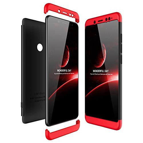 JMGoodstore Funda Compatible Xiaomi Redmi Note 5 Pro,Carcasa Redmi Note 5 Pro,360 Grados Integral Ambas Caras+Cristal Templado,3 in 1 Slim Dactilares Protectora Skin Caso Cover Rojo+Negro