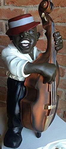 Karo Cooler Musiker Kontrabass SÄNGER Instrument DEKO Outdoor FROSTSICHER WUNDERSCHÖN Handbemalt Statue