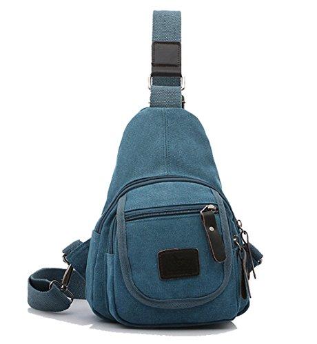 tonwhar® Vintage Leinwand Schulter Sling Brust Tasche Fahrradtasche Kaffee S blau