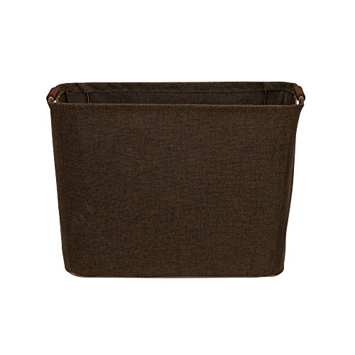 Household Essentials Medium Tapered Abfalleimer mit Holz Griffe, Kaffee Leinen (Cube Tapered)