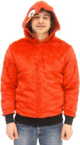 Sesame Street Elmo rot Faux Fur Full Zip Erwachsene Kostüm Hoodie Sweatershirt Jacke (Medium)