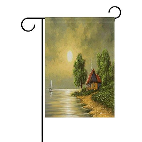 ShineSnow Ölgemälde Mond und Meer Welcome Garden Flagge Doppelseitig, Segelboot Seasonal House Outdoor Yard Flaggen 30,5x 45,7cm, Textil, Multi, 28x40(in) -