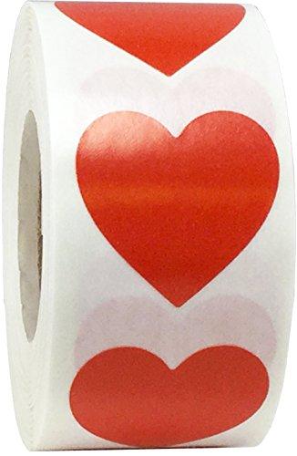 Rojo Corazon Pegatinas, 25 mm 1 Pulgada de Ancho, 500 Etiquetas en un Rollo
