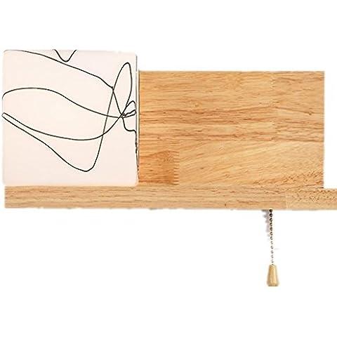 FWEF vidrio madera lámpara nórdico madera simples lámparas de pared y lámparas creativo sólido corredor Inicio muebles de madera fFashion pasillo irradiación de la luz zona 5 ?-10 ? (31 * 14cm)