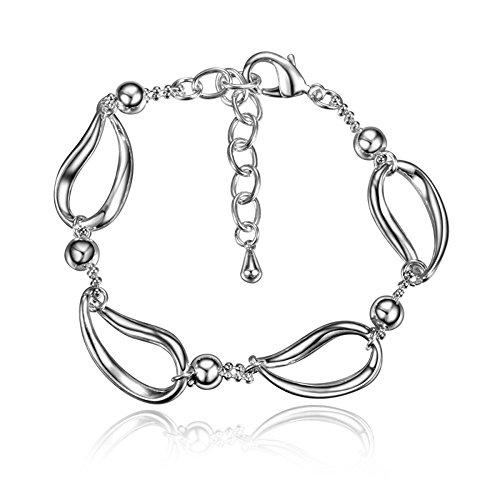 Kommunion Fußkettchen (amberma Charm Schmuck Silber Armbänder Fußkettchen für Frauen, Geschenke für Mädchen FRIENDS)