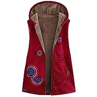 Mujeres cálidas Outwear Vintage impresión geométrica Bolsillos con Capucha Chaleco de Gran tamaño Abrigo