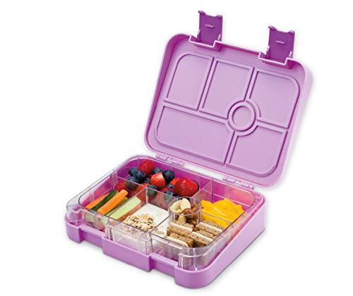 schmatzfatz Vesperbox/Bento Box/Lunchbox für Kinder mit 6 Fächern, robust und auslaufsicher (Lila) Bento-box