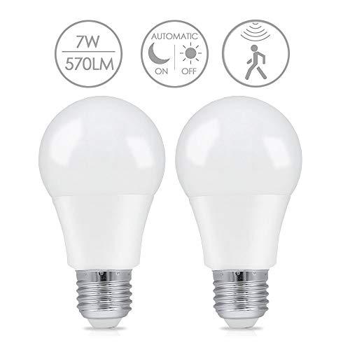 Lampadine a LED E27 sensore di movimento, LAKES Luce notturna LED 7W Bianco Caldo 3000K Intelligente Auto On/Off 2 Pack