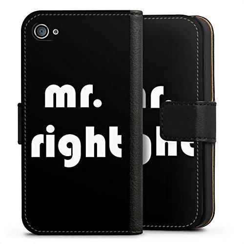 Apple iPhone X Silikon Hülle Case Schutzhülle Liebe Mr Right Love Sideflip Tasche schwarz
