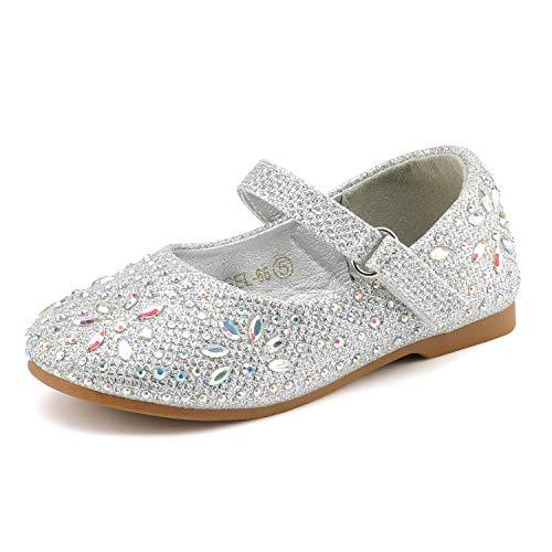 DREAM PAIRS Angel-66 Ballerinas für Mädchen Silber 26 EU/9 US Toddler -