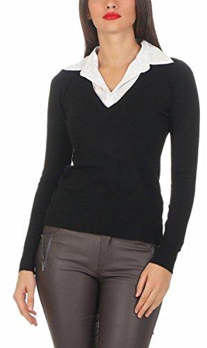 5201 Fashion4Young Damen Feinstrick-Pullover m. Blusenkragen Business Langarm Damenpullover Schwarz