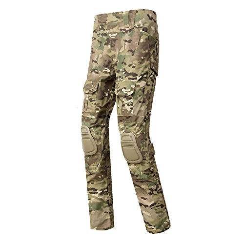 QMFIVE Military Trousers, Men's Shooting Camo Combat BDU Combat Pants Trousers with kneepadfor Tactical Military Army Airsoft Paintball -