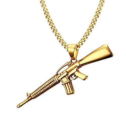 DADATU Halsketten für Herren Männer Khands Gold-Farbe Ak-47 - Mann In Einen Sturm Kostüm