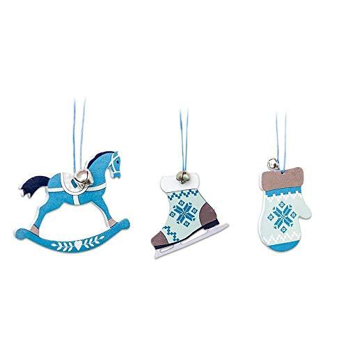 FeiliandaJJ 3PCS Nordischen Stil Blau Weiße Hölzern Mini Glocke Weihnachten Deko Anhänger Christbaumschmuck Party Hochzeit Haus Dekoration Feiertags Geschenke (B)