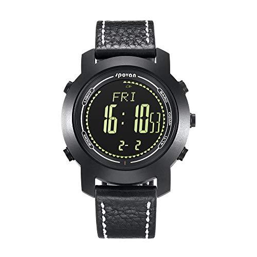 MCJL Smart Watch, Outdoor-Sport-Leder-Uhr Saphirglas Multi-Funktion Altimeter Barometer Chronograph Alarm Kompass nachtlicht Outdoor-Ausrüstung