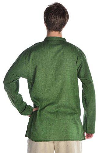 HEMAD Herren Hemd Fischerhemd beige blau schwarz S-XXXL reine Baumwolle Grün