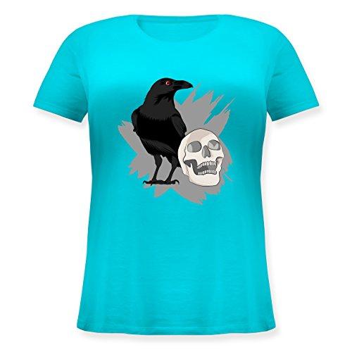 Halloween - Rabe auf Totenkopf - XL (50/52) - Hellblau - JHK601 - Lockeres Damen-Shirt in großen Größen mit Rundhalsausschnitt
