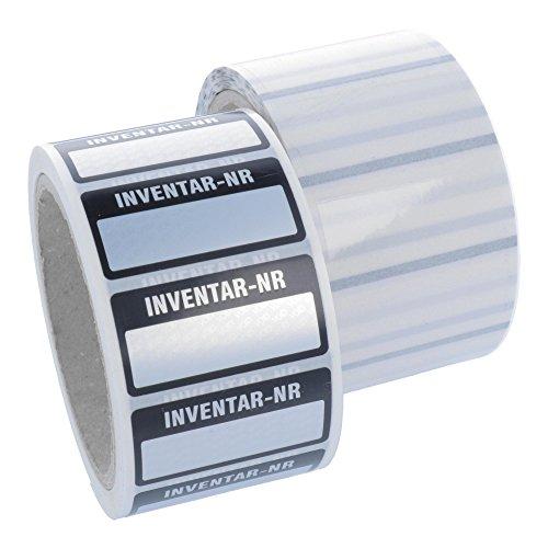 Labelident Inventaretiketten - Inventar-Nr.: - 51 x 25 mm - 500 Inventaraufkleber auf Rolle, silber, Polyester VOID-Effekt, permanent haftend