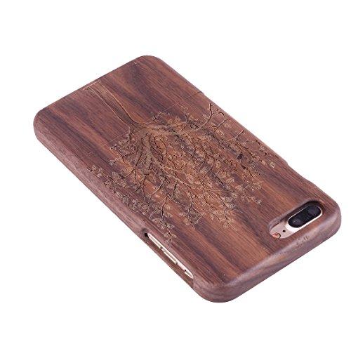 iPhone Case Cover Pour iPhone 7 Plus Séparable Sculpture Artistique Tiger Head Pattern Rosewood Boîtier Étui de Protection ( SKU : Ip7p1450r ) Ip7p1450f