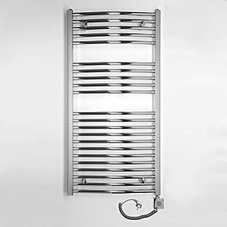 Elektro Badheizkörper 419 Watt (H x B) 1175 x 600mm - chrom gerade - Anschluss Rechts - inkl. Heizpatrone 600 Watt mit 2 Heizstufen - Fertig befüllt und sofort betriebsbereit