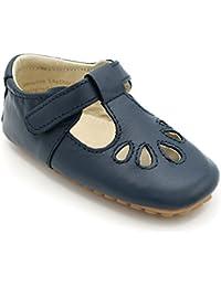 Shimmy Shoes Scarpe di Lusso per Bambina, Design Inglese per Feste, Matrimoni e Occasioni Speciali. con Cinturino a T nei Colori Rosso/Blu Marina. Misure 19 EU – 23 EU