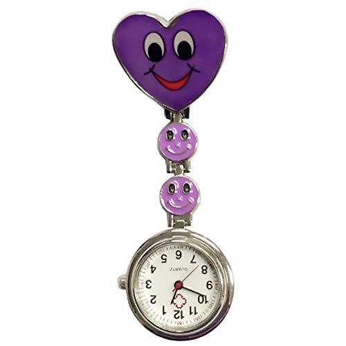 Creative Herz, Quarz, Krankenschwester-Brosche Fob Tunika Schwesternuhr Smiley Gesicht Taschenuhr mit Clip Violett [Misc.]