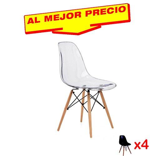 CONJUNTO DE 4 SILLAS INSPIRADA EN TOWER WOOD DE MADERA DE HAYA...