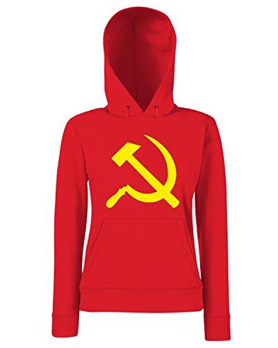 T-Shirtshock - Sweats a capuche Femme T0744 falce e martello comunismo politica Rouge