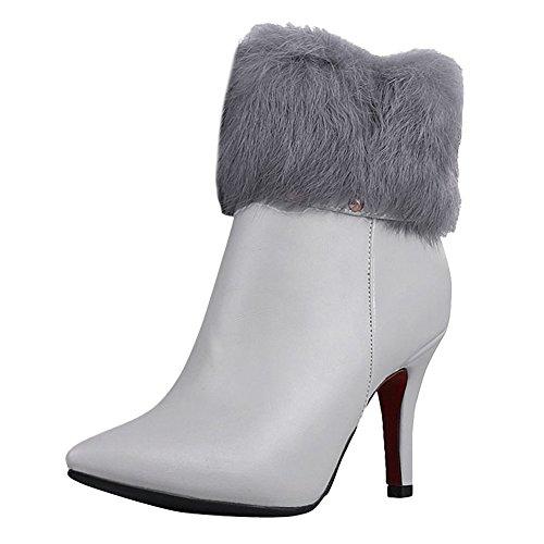 Mee Shoes Damen Reißverschluss Pompon high heels spitz kurzschaft Stiefel Grau