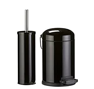 color match bathroom bin and toilet brush black amazon