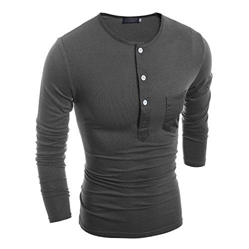 Swallowuk Herren Mode Langarm T-Shirt Slim Fit Sweatshirt Sport Top mit Button (L, Dunkelgrau) (Langarm Mode T-shirt Männer)