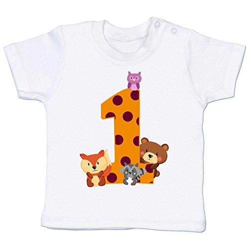 Shirtracer Geburtstag Baby - 1. Geburtstag Waldtiere - 12-18 Monate - Weiß - BZ02 - Babyshirt Kurzarm