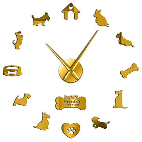 MMLUCK Rahmenlose Scottish Terrier Hunderasse 3D DIY Stille Wanduhr Mit Spiegeleffekt Aufkleber Uhr Tiere Klinik Dekor Zeigen (Gold) 37inch -