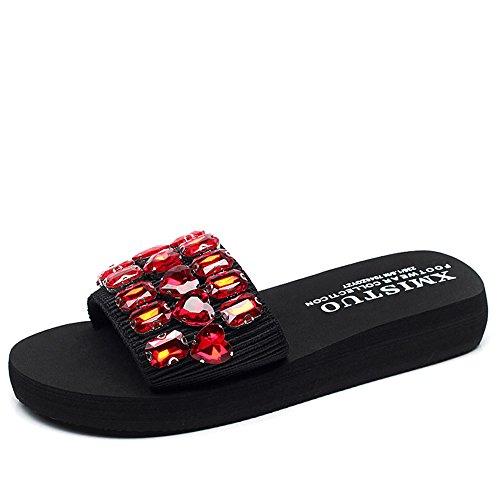 Pente avec sandales à talons hauts à bascule --- Sandales et pantoufles d'été femme Chaussures décontractées Chaussures de plage avec de nombreuses couleurs --- Herringbone fashion sweet Sandals #1