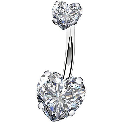 OUFER Surgical Steel Belly Bars Double Shiny Heart Cubic Zirconia Anti-allergic 14G 1.6mm Navel Bar Barbells - Big Belly Ringe