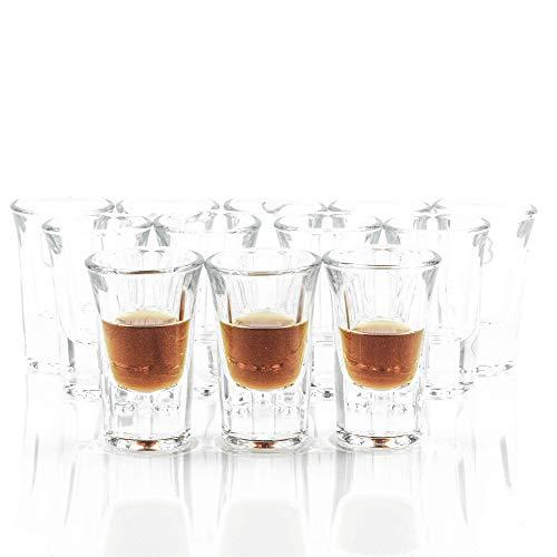 Elerise Schnapsgläser Shotgläser Set, 12 Stück, 3cl, Pinnchen Stamper aus Glas mit dickem Boden