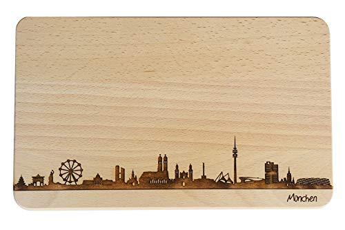 Brotzeitbrett München Skyline   Frühstücksbrettchen aus Buche   Holz Schneidbrett   Geschenk mit...