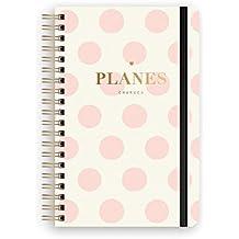Charuca PLD02 - Planificador diario con tapa y diseño Topos, 130 x 195 mm, color rosa