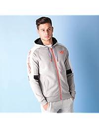 Sweat à capuche zippé avec logo trèfle adidas Originals DM pour homme en gris