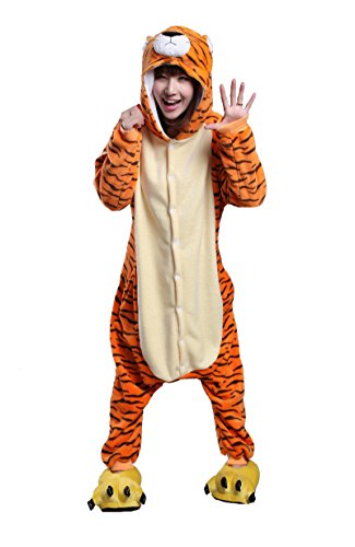 URVIP Neu Unisex Festliche Anzug Flanell Pyjamas Trickfilm Jumpsuit Tier Cartoon Fasching Halloween Kostüm Sleepsuit Party Cosplay Pyjama Schlafanzug Tiger X-Large