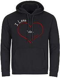 b33a8551c8c2a Sudadera con capucha-camiseta de manga larga para hombre de Polonia modern  I Love negro