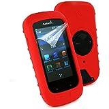 Tuff-Luv Funda de silicona para Garmin Edge 1000 protector de pantalla - Rojo