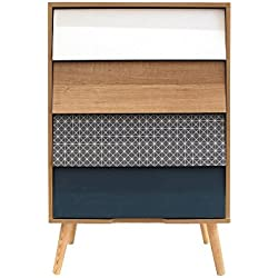 The Home Deco Factory HD3726 - Mesa de noche con 4 cajones Estocolmo, madera, 60 x 39.50 x 91.50 cm