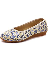 Zapatos de Tacón/Spring, Summer and Elegant Small Slopes with The Tip of China Embroidered Shoes,Beige,39