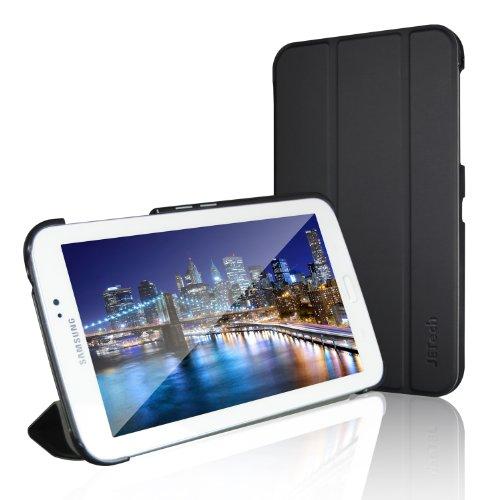JETech Gold Slim Fit Galaxy Tab 3 7.0 Funda de PC Cuero Carcasa con Frente/Atrás Protección y Stand Función para Samsung Galaxy Tab 3 7 pulgadas Case Cover (Negro) - 0540