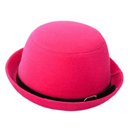 Dosige Damen Filzhut Eleganter Hut Melone Mütze Winterhut Fischerhut Mode Mütze mit Ledergürtel Herbst und Winter (Pink)