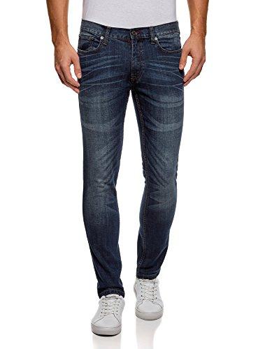 Oodji ultra uomo jeans slim fit con cuciture in tasche, blu, 34w / 32l (it 50 / eu 34 / l)
