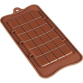 Clazkit Silicone Bar Chocolate Mould Break Apart Choc Block Mould (Size : 19 * 16 * 2cm), Chocolate Colour